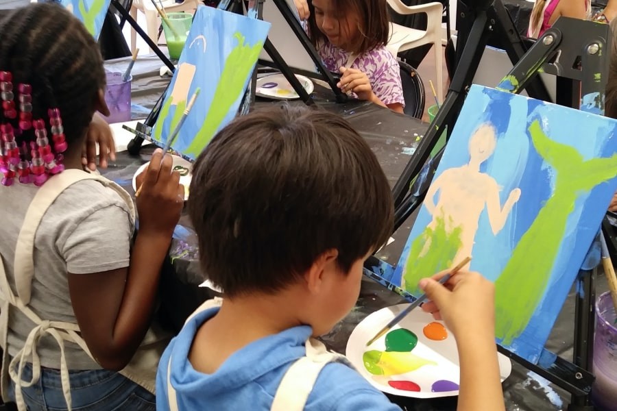 Pre-kindergarten kids at paint camp in San Benito County