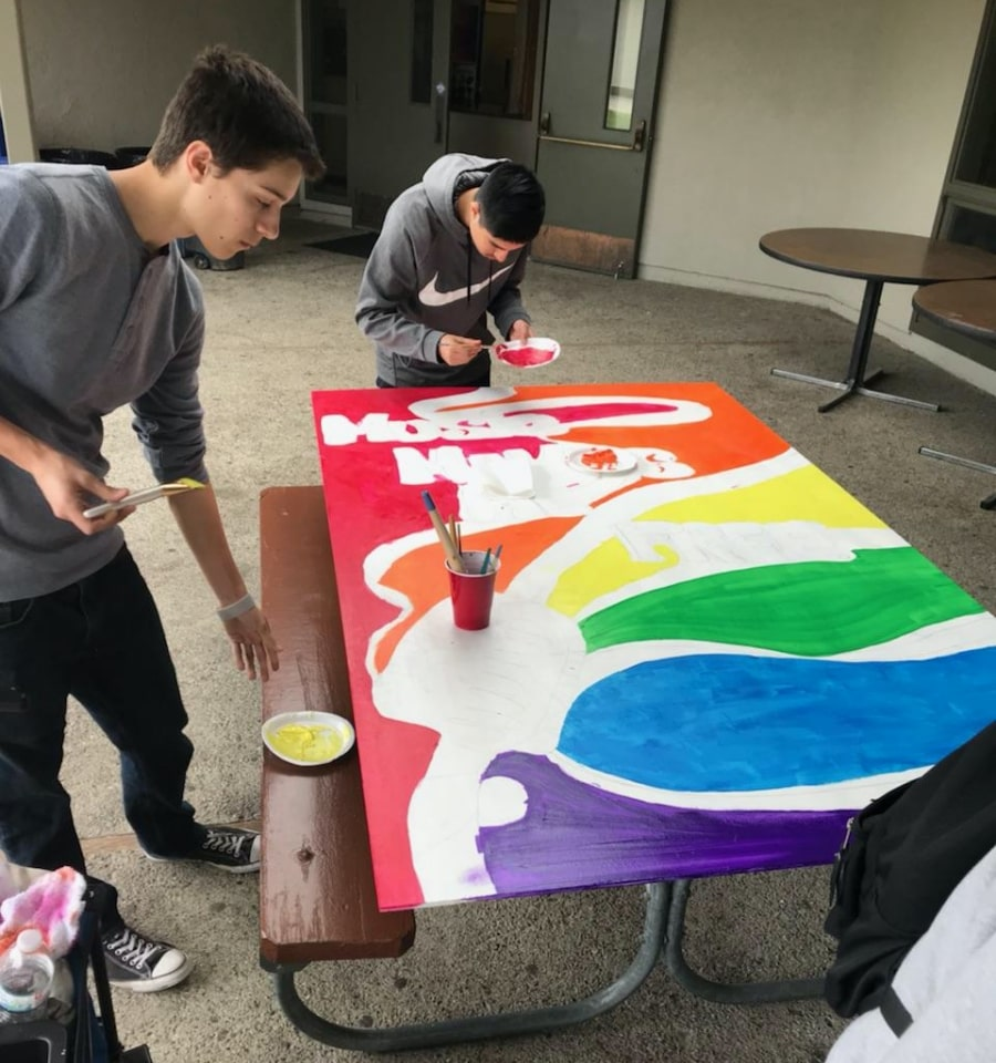 Two young students painting top of picnic table with multiple colors